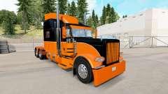 Die Schwarz und Orange Haut für den truck-Peterb