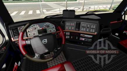 Schwarz und rot Innenraum Volvo für Euro Truck Simulator 2