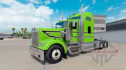 La peau Noire à rayures blanches sur le camion Kenworth W900 pour American Truck Simulator