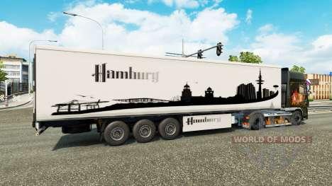 Die Haut Hamburg, die auf dem Anhänger für Euro Truck Simulator 2