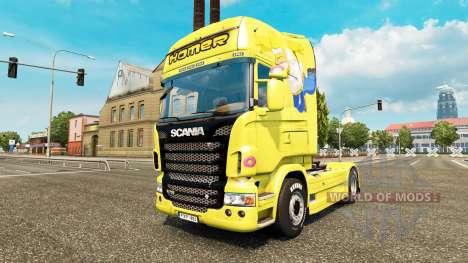 Homer Simpsons peau pour Scania camion pour Euro Truck Simulator 2