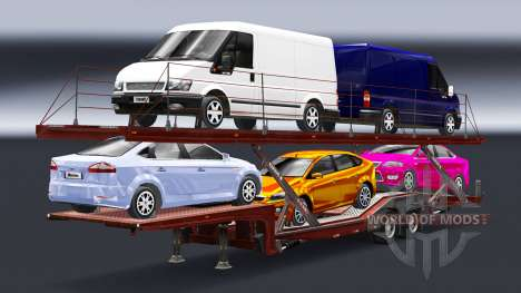 Semi-remorque-camion porte-voiture avec Audi et  pour Euro Truck Simulator 2