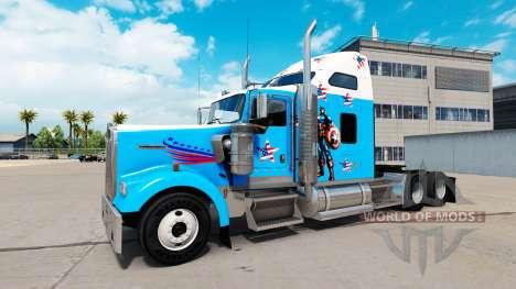 La peau de Captain America sur le camion Kenwort pour American Truck Simulator