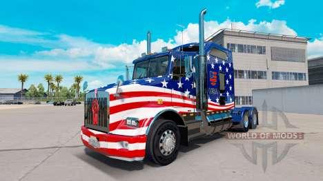 Skin-USA-Flagge Traktor auf einem Kenworth T800 für American Truck Simulator