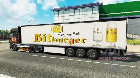 La peau Bitburger sur la remorque pour Euro Truck Simulator 2