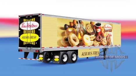 Haut Tim Hortons auf gekühlten Auflieger für American Truck Simulator