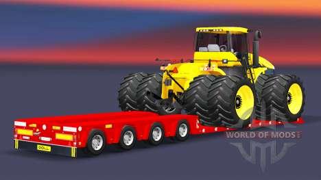 Tiefbett Schleppnetz-Puppe mit Ladung Traktor für Euro Truck Simulator 2
