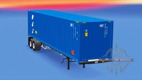 Semi-remorque avec un conteneur de 40 pieds pour American Truck Simulator