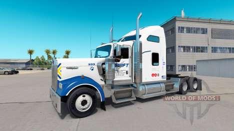 La peau Swift sur le camion Kenworth W900 pour American Truck Simulator