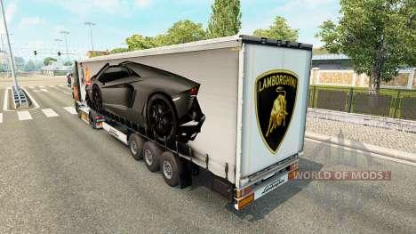 La peau Lamborghini Aventador dans la remorque pour Euro Truck Simulator 2