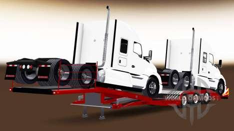 Low-frame Schleppnetzen mit einer Ladung Traktor für American Truck Simulator