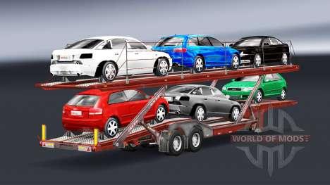 Semi-trailer-Auto-Träger mit Audi und Ford für Euro Truck Simulator 2