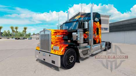 Haut Tigers In Flammen auf-truck Kenworth W900 für American Truck Simulator