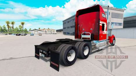 Peau Rouge et Crème sur le camion Kenworth W900 pour American Truck Simulator