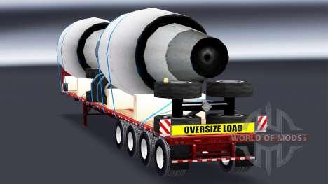 La semi-remorque plate-forme avec les moteurs de pour American Truck Simulator
