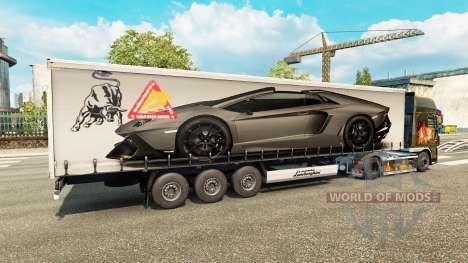 Haut Lamborghini Aventador im trailer für Euro Truck Simulator 2