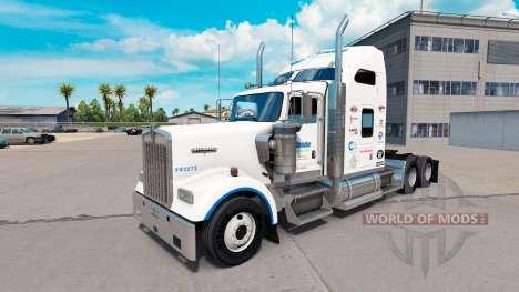 La peau Céladon Logistique sur le camion Kenwort pour American Truck Simulator