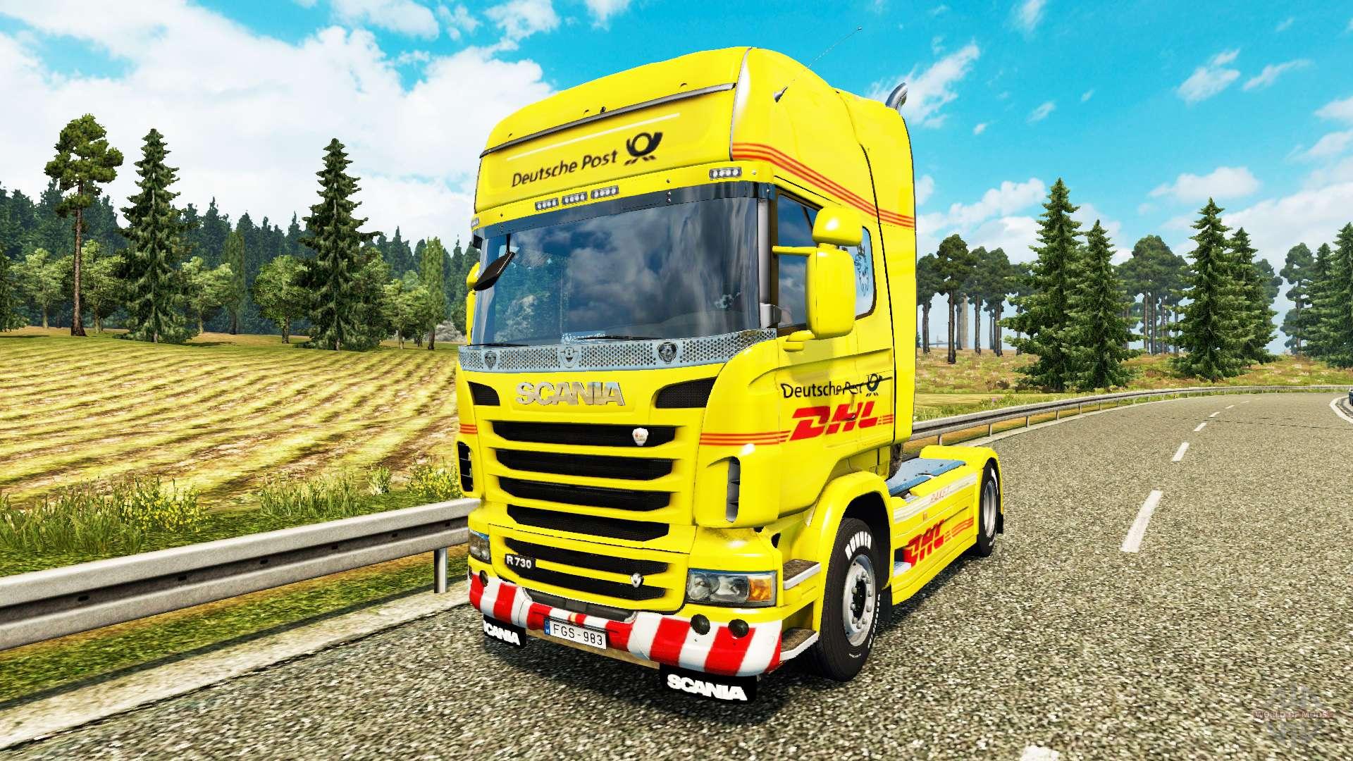 haut dhl f r scania lkw f r euro truck simulator 2. Black Bedroom Furniture Sets. Home Design Ideas