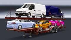 Semi-remorque-camion porte-voiture avec Audi et