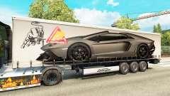 Haut Lamborghini Aventador im trailer