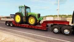 Bas de balayage avec une cargaison de tracteur J