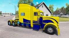 La peau Jaune et Bleu pour le camion Peterbilt 3