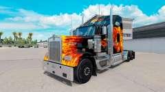 Haut Tigers In Flammen auf-truck Kenworth W900