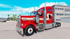 Peau Rouge et Crème sur le camion Kenworth W900