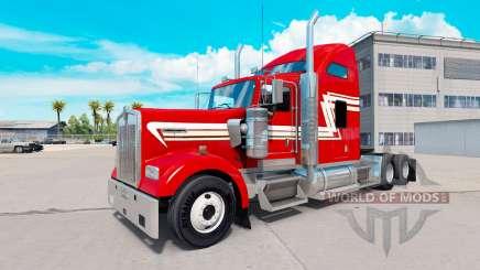 Haut Rot und Creme auf die LKW-Kenworth W900 für American Truck Simulator