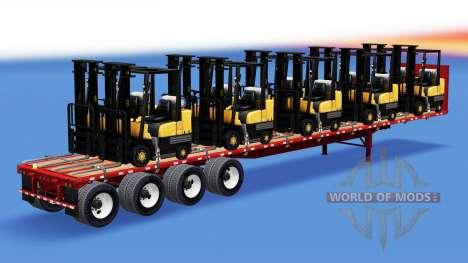 La semi-remorque-site avec matériel de construct pour American Truck Simulator