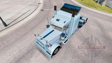 Haut, Blau-weißen Streifen für die LKW-Peterbilt für American Truck Simulator