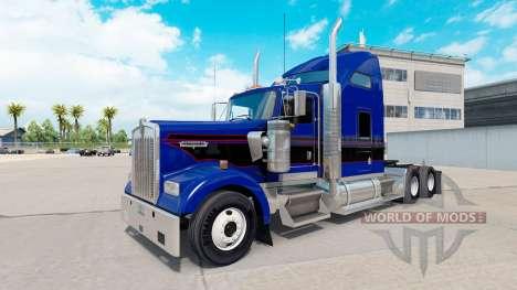 La peau Noire & Bleu Vintage tracteur sur Kenwor pour American Truck Simulator