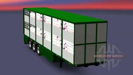 Semi-remorque-bovins transporteur Ferkel Trans v pour Euro Truck Simulator 2