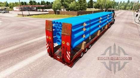 Bas de balayage avec une cargaison de tuyaux pour American Truck Simulator