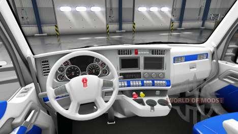Der Innenraum ist Weiß und Blau für Kenworth T68 für American Truck Simulator
