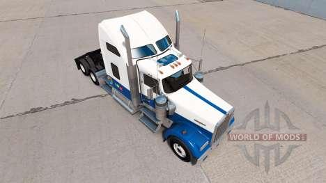 Haut, Blau-weiß-truck Kenworth W900 für American Truck Simulator