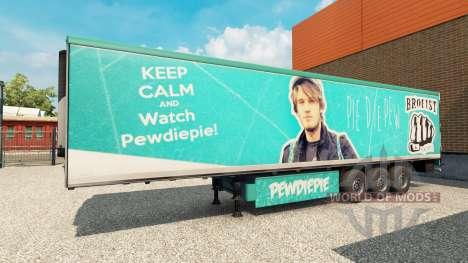La peau PewDiePie sur la remorque pour Euro Truck Simulator 2