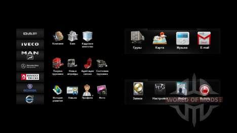 De nouvelles icônes dans le menu v4.0 pour Euro Truck Simulator 2