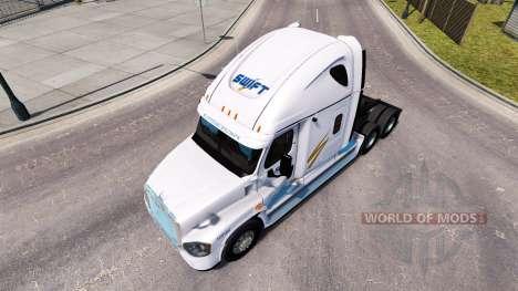 La peau Swift sur tracteur Freightliner Cascadia pour American Truck Simulator