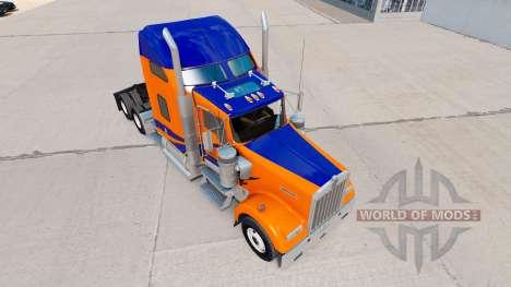 Скин Bandes Bleues sur Orange на Kenworth W900 pour American Truck Simulator