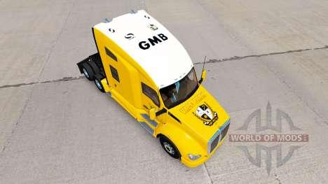 La peau de Port Vale sur jaune tracteur Kenworth pour American Truck Simulator
