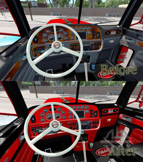 Der Innenraum ist in Rot und Schwarz Peterbilt 3 für American Truck Simulator