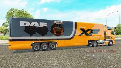 Semi-remorque frigo camion DAF XF pour Euro Truck Simulator 2
