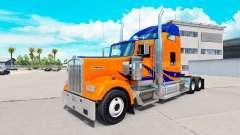 Скин Bandes Bleues sur Orange на Kenworth W900