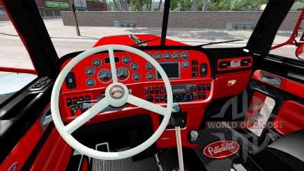 Der Innenraum ist in Rot und Schwarz Peterbilt 389 für American Truck Simulator