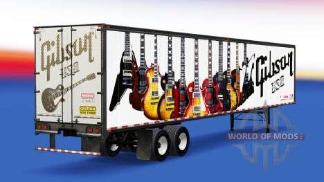 La peau Gibson Guitares sur la remorque pour American Truck Simulator
