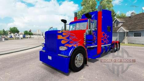 La peau Optimus Prime v2.1 pour le camion Peterbilt 389 pour American Truck Simulator