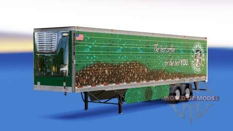 La peau du Café Starbucks sur la remorque pour American Truck Simulator