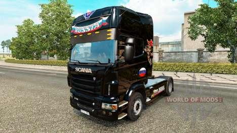 Haut Russland Schwarz auf der Zugmaschine Scania für Euro Truck Simulator 2
