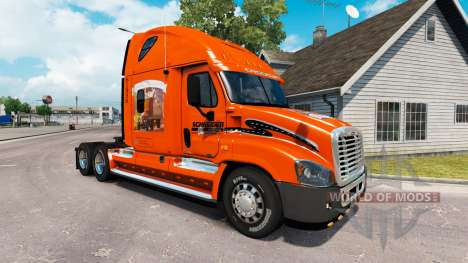 La peau sur SCHNEIDER camion Freightliner Cascadia pour American Truck Simulator